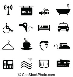 Hotel icons in black