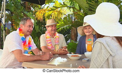 Elderly couples of friends taking an aperitif in holidays