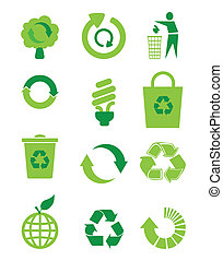 Recycle icon set, vector illustration