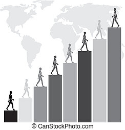 corporate objectives - people walking on bar graphs towards...