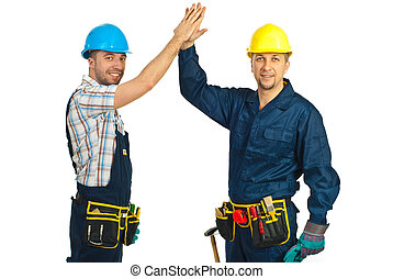 Happy constructor workers high five - Two happy constructors...