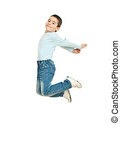 Happy kid jumping - Happy kid boy jumping isolated on white...