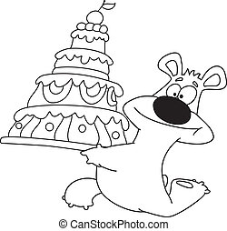 bear and cake outlined