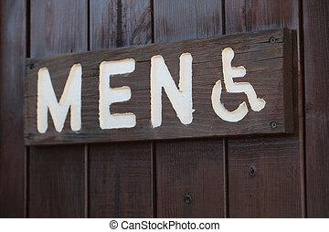 Men\'s restroom sign.