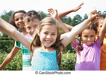 Happy friends - Portrait of happy children having fun and...