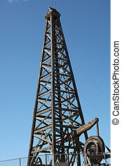 Wooden oil rig. - Wooden oil rig on display.