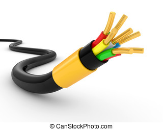 electrical cable on white background Isolated 3d model