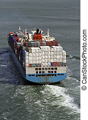 Container cargo ship - Aerial view from the back of...
