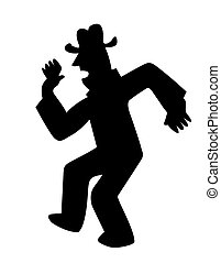vector silhouette dancing men on white background