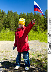 The girl with a flag