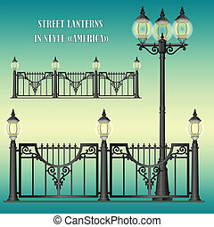 Shod street fence with lanterns - Vector shod street fence...