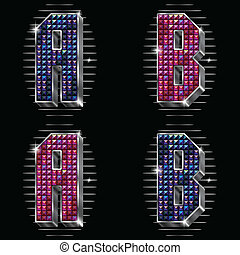 Letters A,B with shiny rhinestones