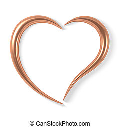 stylized copper heart - Stylized copper heart, isolated on...