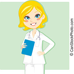 Woman Doctor - Beautiful blond woman doctor smiling and...