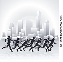 Cityscape runners - Runners running in an urban city with a...