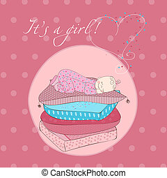 Baby Girl Sleeping on Pillows Card