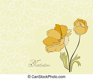 Floral Invitation Postcard in vector