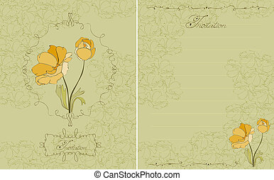 floral, invitation, vert, carte postale, vecteur