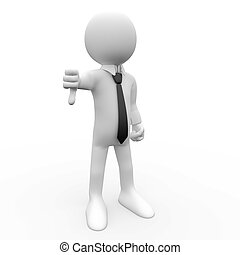 3D human with thumb down, with shirt and tie
