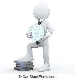 3D man holding a coin