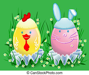 Funny Easter colored eggs in the form of a rabbit and chicken