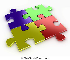 Four puzzle pieces of various colors, red, blue, yellow and...