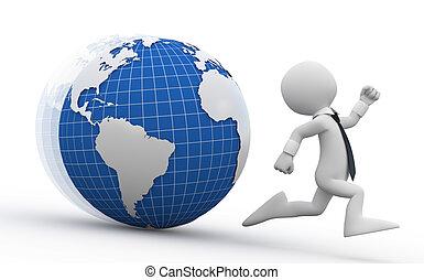 Man running away from Earth - Business man running away from...
