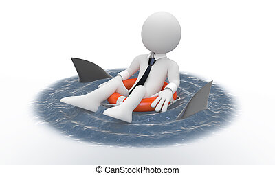 Businessman and sharks - Businessman floating in a life...