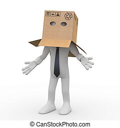 Businessman with a cardboard box over his head