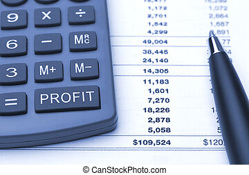 profit button on calculator, pen and finance report