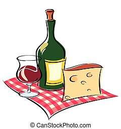 wine - vector image of wine and cheese on napkin