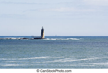 Maine Lighthouse and coastal scene - Lighthouse in Casco Bay...