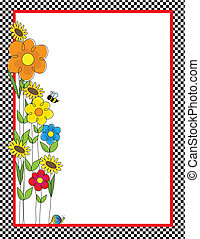 Flowers and Checks Border - A black and white checkered...