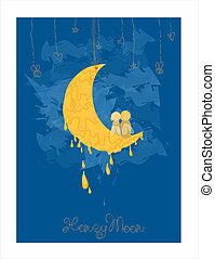 Cute Honeymoon Postcard in vector