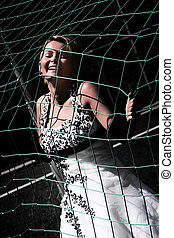 Bride in the net - The pretty bride is catched by the net
