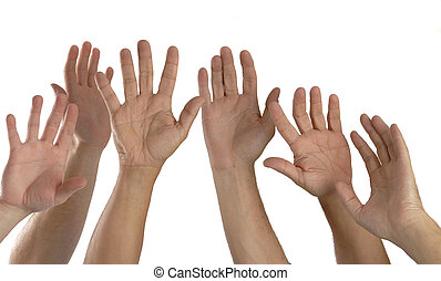 Many hands high up isolated on white background
