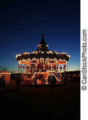Carousel - Nice Carousel with dark sky in the evening