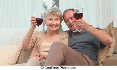 Mature couple enjoying a glass of red wine in the living...