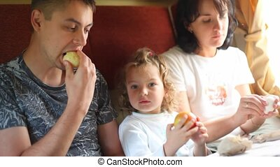 family of tree persons in compartment of going train eats,...