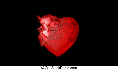 Red Heart explosion Slow motion - Red Heart explosion with...