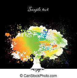 Ink colorful tree on black over. Vector