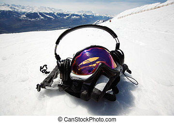 snowboard mask in mountains