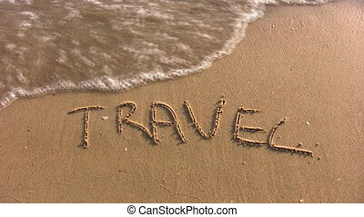travel word on beach - Travel - word on beach