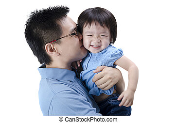 asian father and daugther with isolated white background