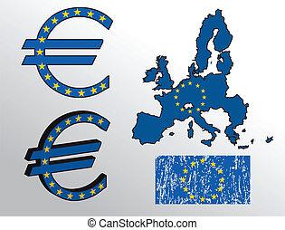 Euro sign with European Union flag