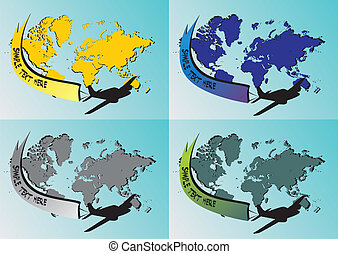 Four World map with airplane