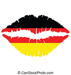 german lips - lips impression in the colors of german flag