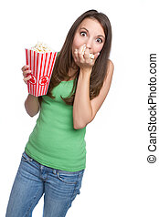 Popcorn Girl - Isolated teenage girl eating popcorn