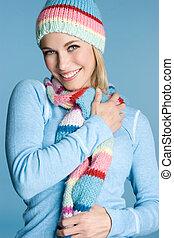 Smiling Girl - Beautiful smiling girl wearing scarf