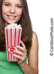 Girl Eating Popcorn - Beautiful teen girl eating popcorn